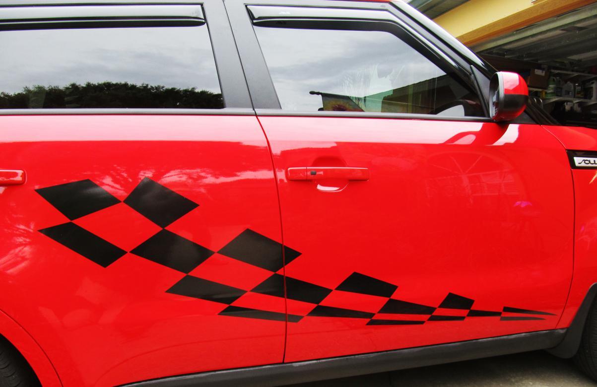 checkered flag vinyl door decals side decal 05 jpg